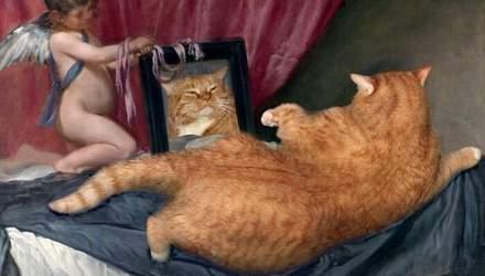 Мона Лиза с котиком: художница добавляет своего толстого кота на знаменитые картины – фото