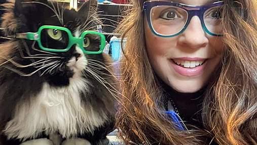 Кошка носит очки, чтобы помочь детям преодолеть стыд – очень милые фото